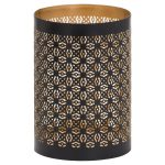 21099 Black Gold Cylinder Medium Candle Lantern
