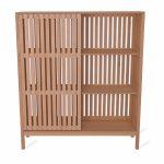 Elegant Wooden Slatted Storage Unit