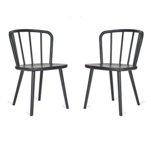 Pair Black Curved Back Chairs